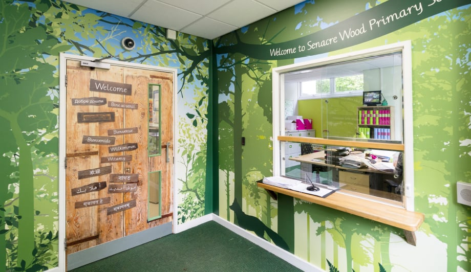 Senacre Wood Primary School logo design reception wall art