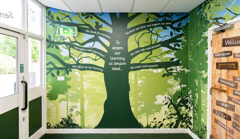 Primary School Values tree bespoke reception installation wall art
