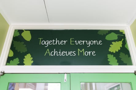 Senacre Wood Primary School values reception wall art