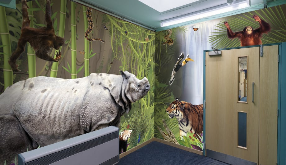 St Lukes Foundation School breakout area wrap around wall art