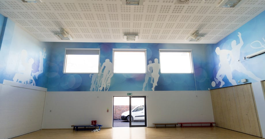College Park sports hall bespoke large format wall art