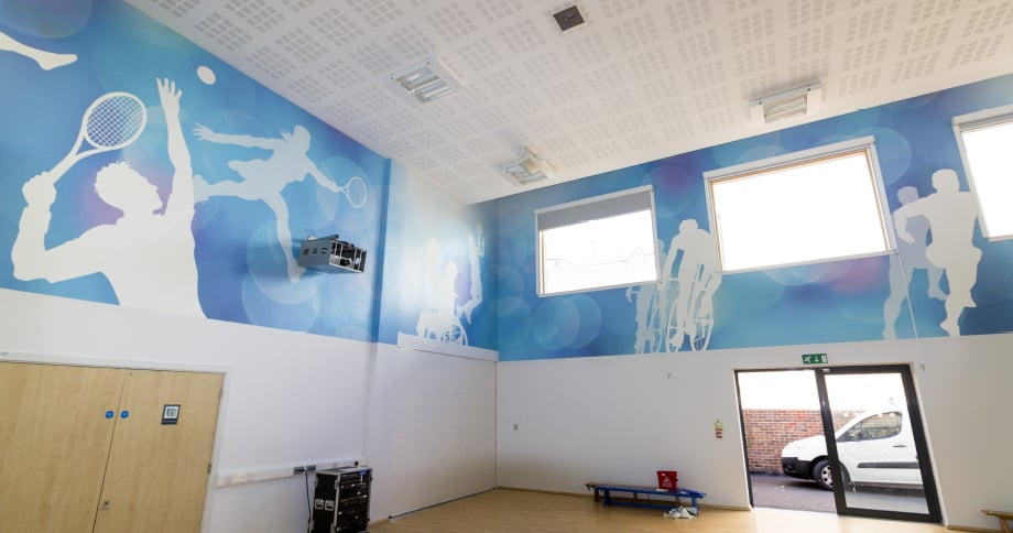 College Park School sports hall brought to life with Wall Art