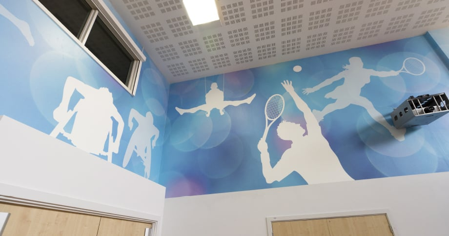 School sports hall walls brought to life with Wall Art