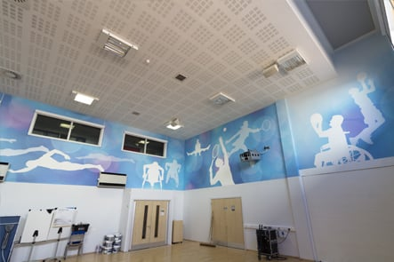 College Park School, sports hall large format wall graphics