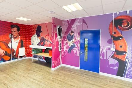 Hopping Hill Primary School music theme creative studio wall wrap