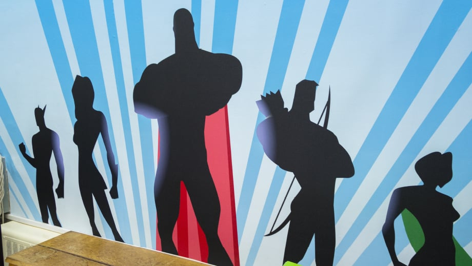 Harris Primary Academy Bespoke superhero themed school hall Wall Art