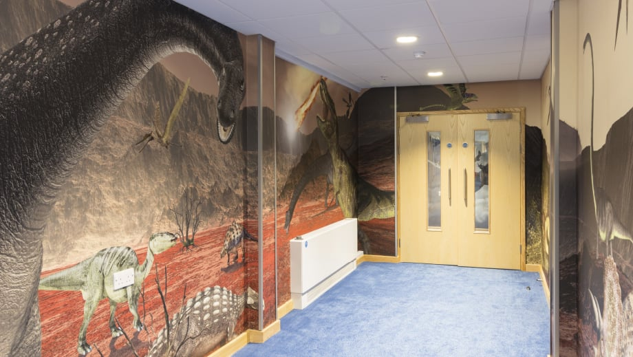 Lee Chapel School bespoke dinosaur themed corridor wall art