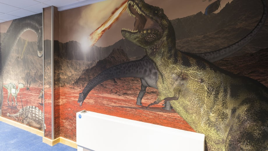 Large format bespoke designed dinosaur themed corridor wall art