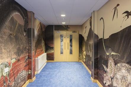 Lee Chapel dinosaur feature history corridor wall art