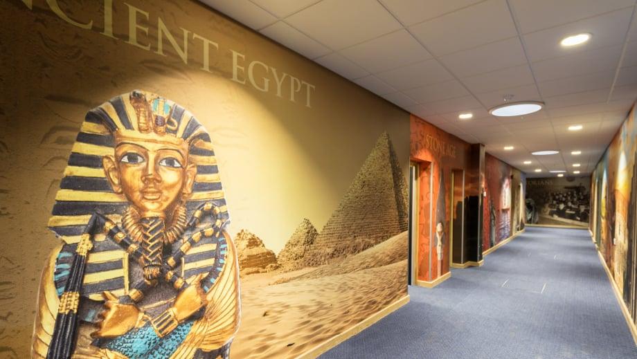 School wall graphics history subject corridor wall art