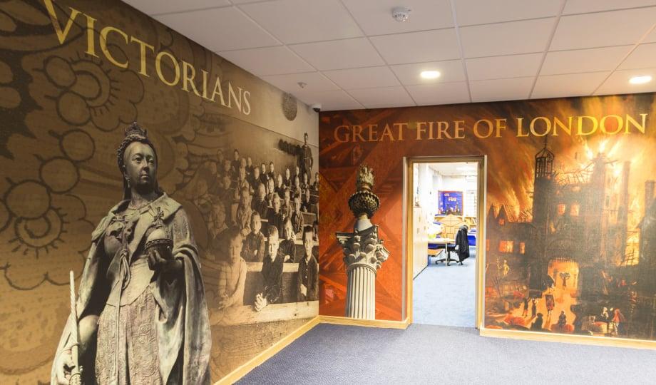 Lee Chapel School bespoke history subject themed corridor wall art