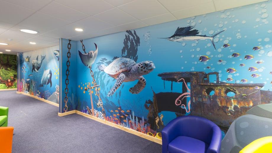 Lee Chapel Schools immersive underwater themed corridor wall art