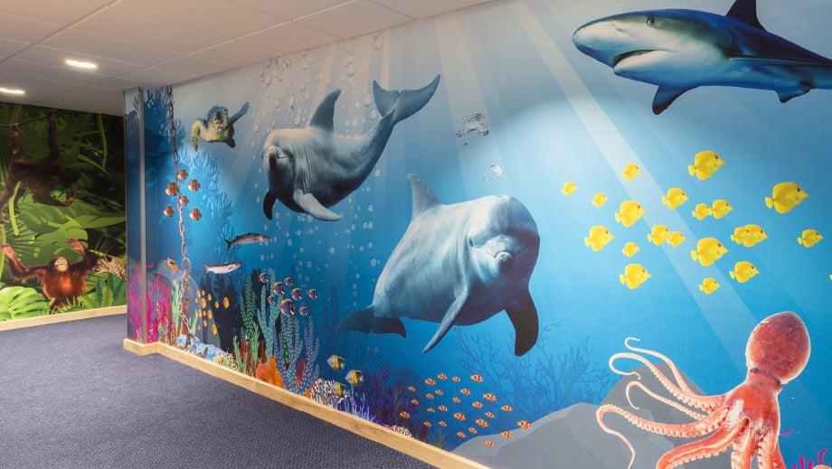 Lee Chapel Schools bespoke underwater themed corridor wall art