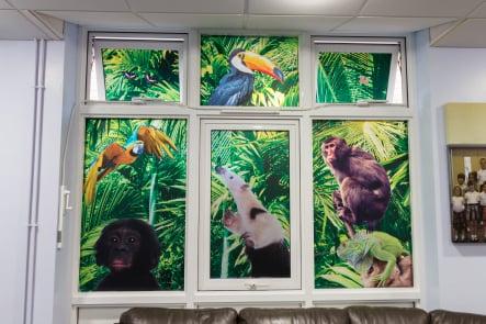 Lee Chapel School jungle themed immersive window wall art