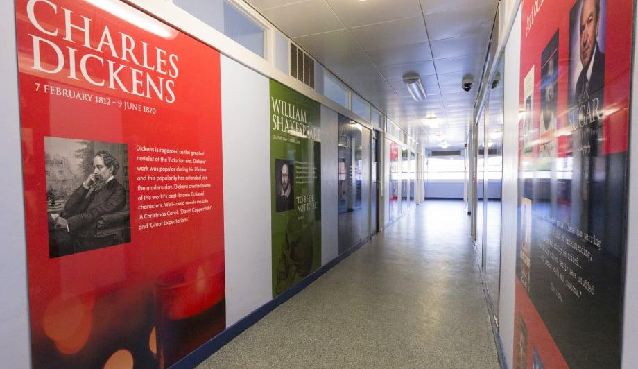 Churchmead School Literacy genre themed corridor wall art
