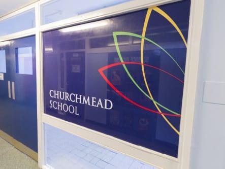 Churchmead School bespoke branding and welcome boards wall art