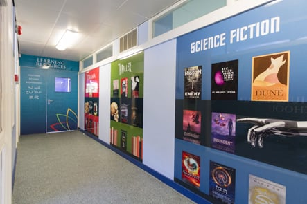 Churchmead School science fiction corridor wall art