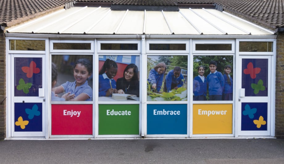 Bespoke school pupil photography for external doors and Wall Art