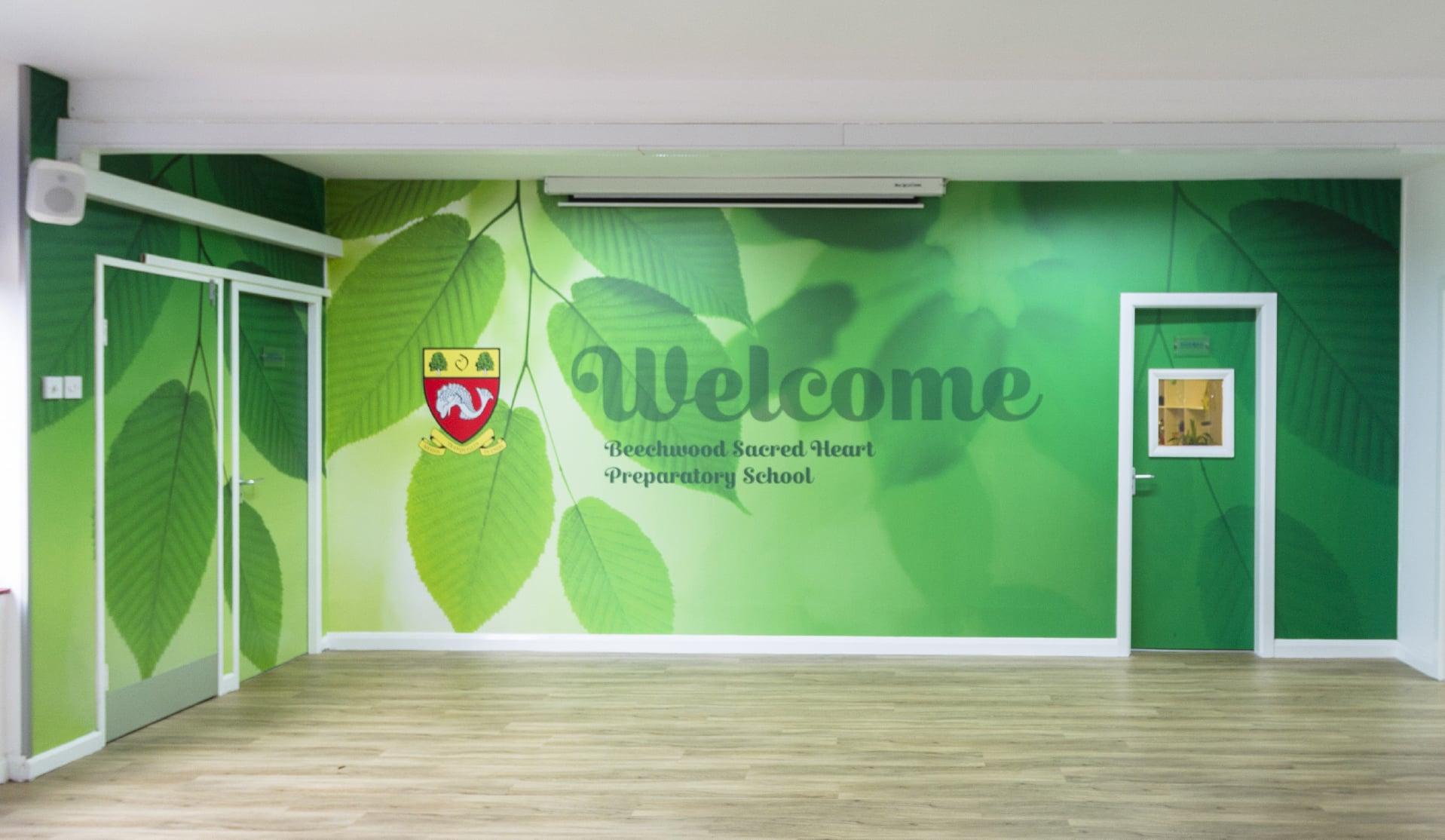 Bespoke School entrance area welcoming wall art feature