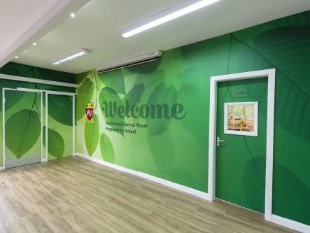 Beechwood Sacred Heart School welcoming entrance area wall art