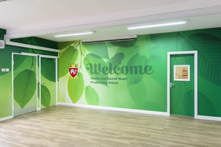 Beechwood Sacred Heart School welcome entrance wall art