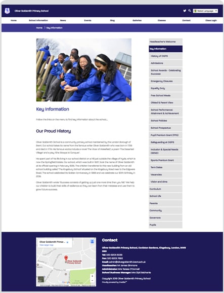 Oliver Goldsmith primary custom themed website design
