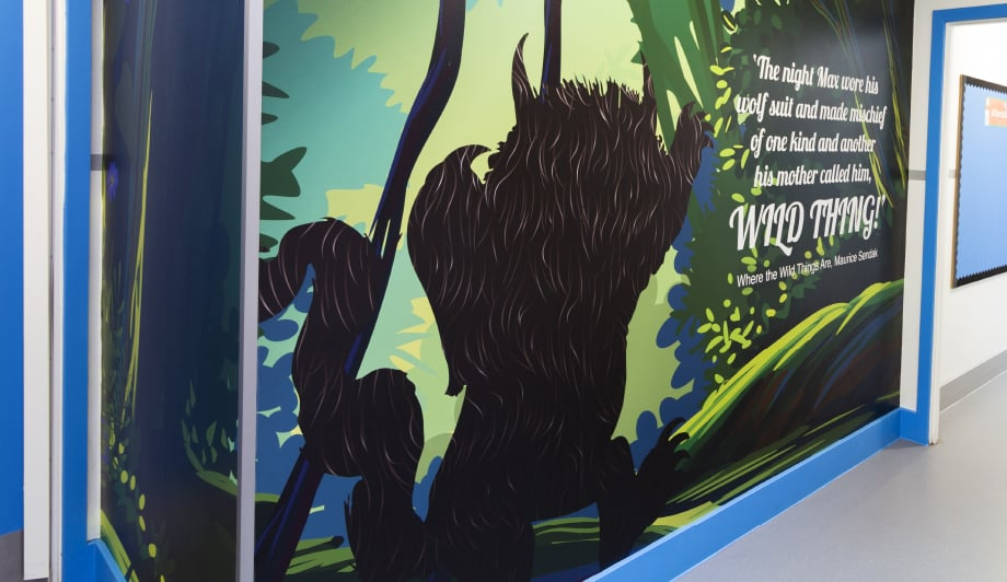 Large format graphics for primary school library corridor wall art