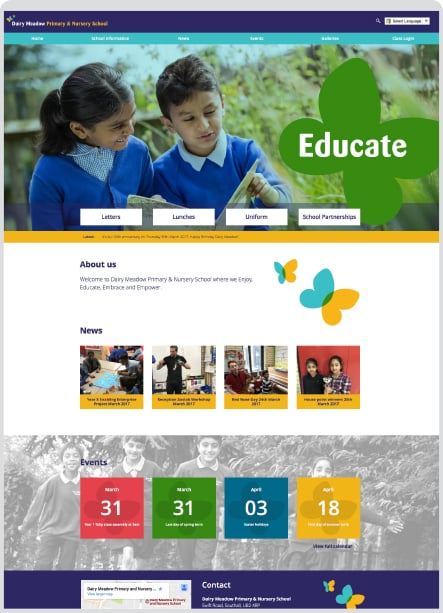 Dairy Meadow Nursery School bespoke website development