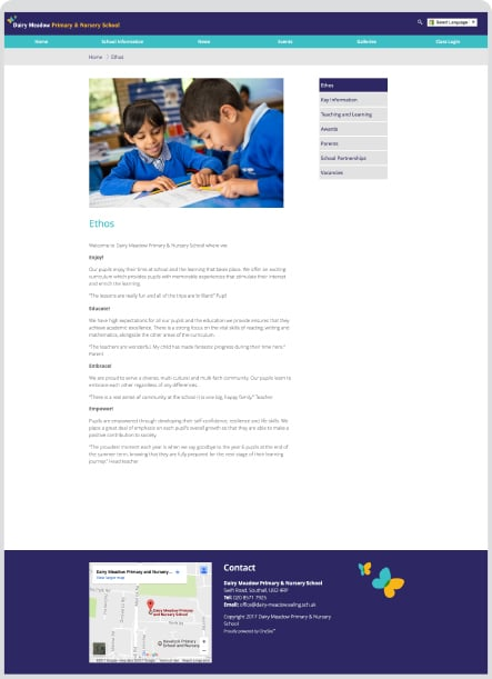 Dairy Meadow School Website term information website development