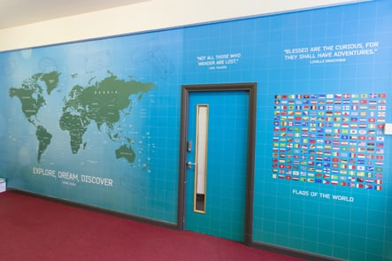 Townley Grammar flags of the world corridor, feature wall art