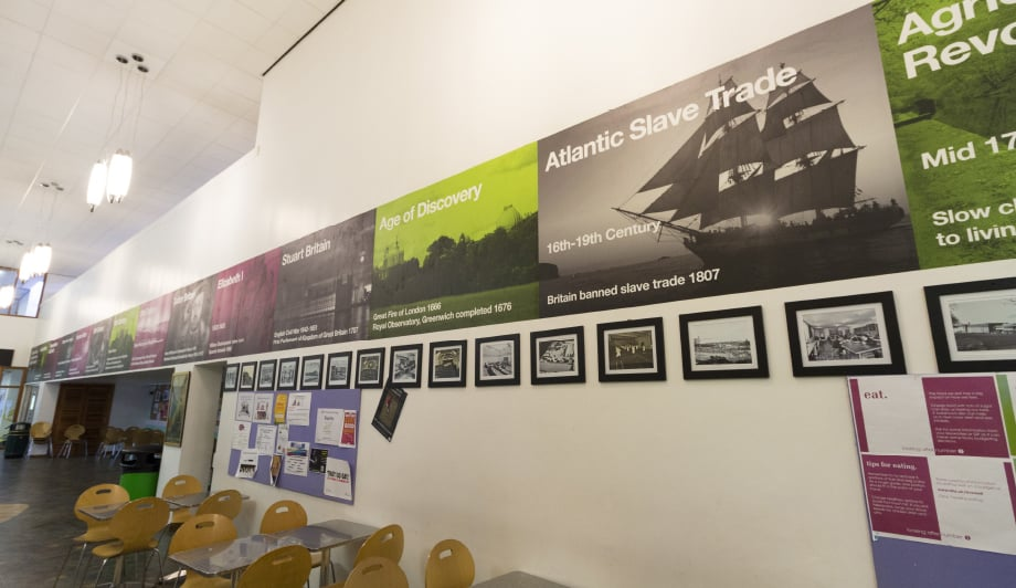 UK Sixth Form college historical themed timeline canteen wall art