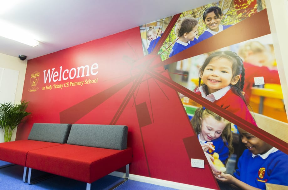 Holy Trinity School branding for welcome walls wall art