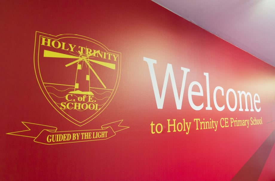 Holy Trinity Schools large format welcome wall art