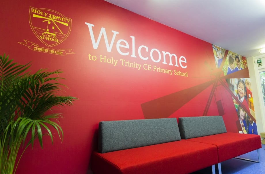 Holy Trinity reception area welcome wall art