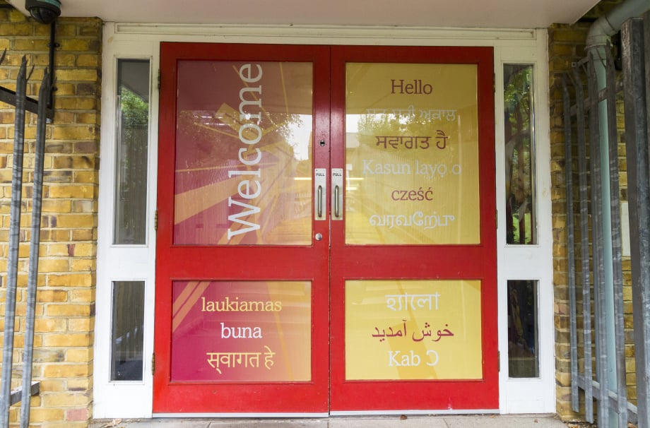 Holy Trinity school bespoke welcome and entrance door wall art