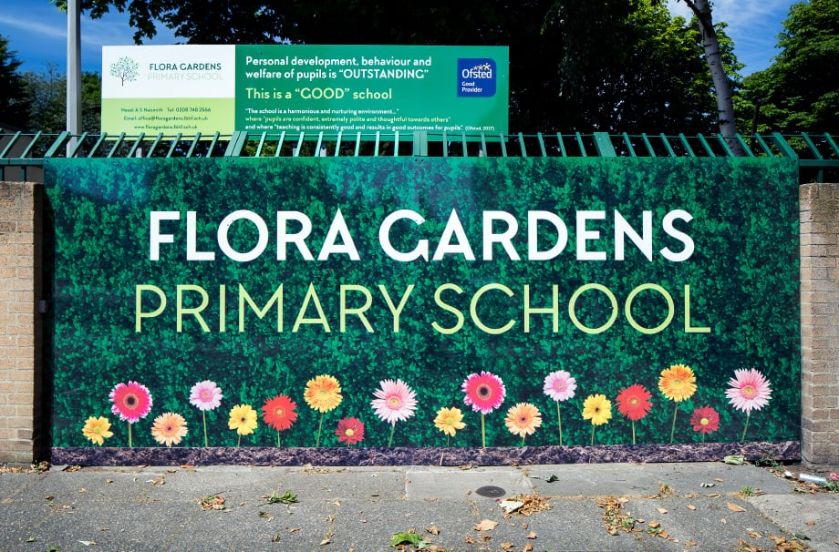 Flora gardens welcome entrance area wall art school signage