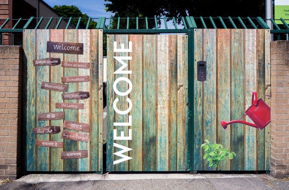 Flora gardens school bespoke welcome area external wall art