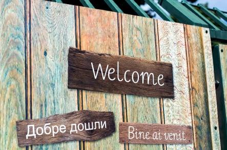 Welcome bespoke designed school entrance wall art