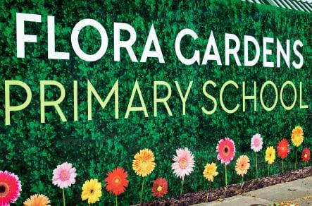 Flora gardens bespoke branding for entrance area wall art