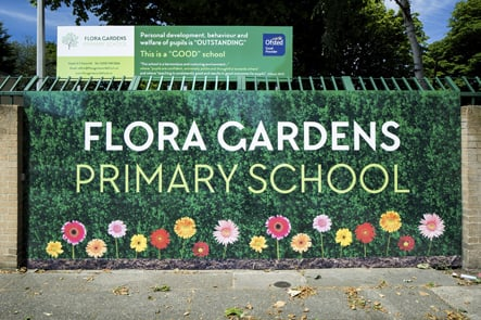 Flora Gardens Primary bespoke welcome entrance wall art