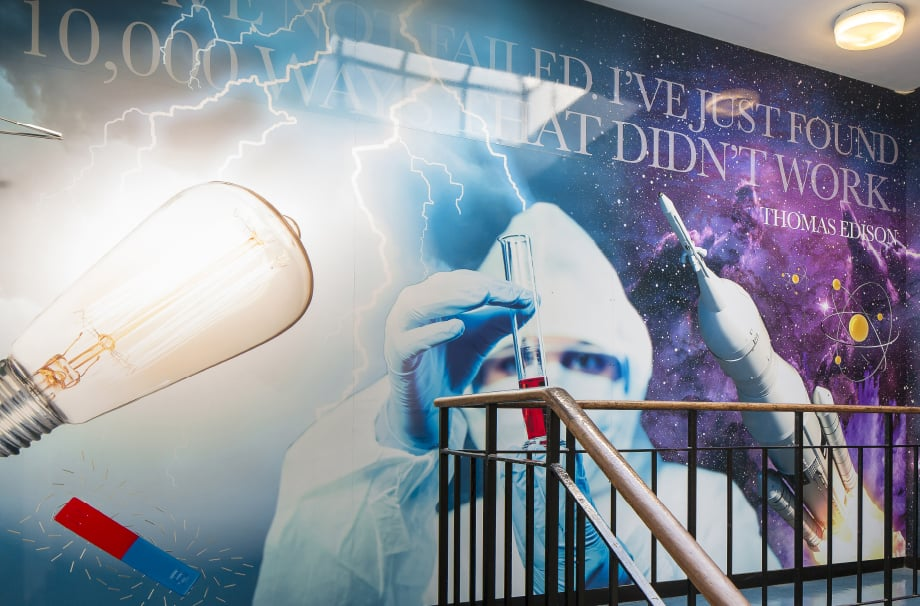 Science themed staircase for London School wall art