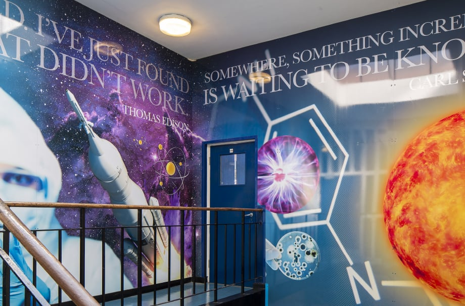 Finchley Catholic High School science themed staircase wall art