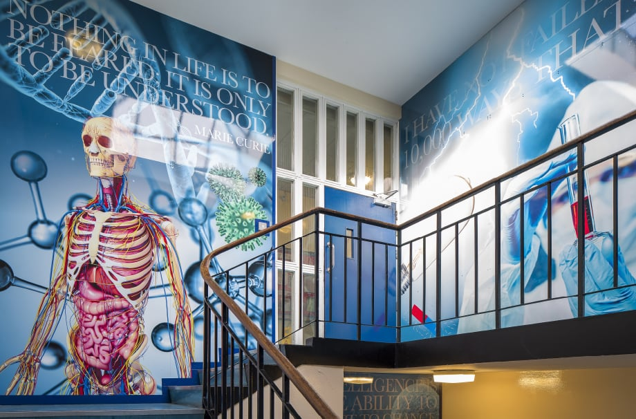 Finchley Catholic School bespoke design science staircase wall art