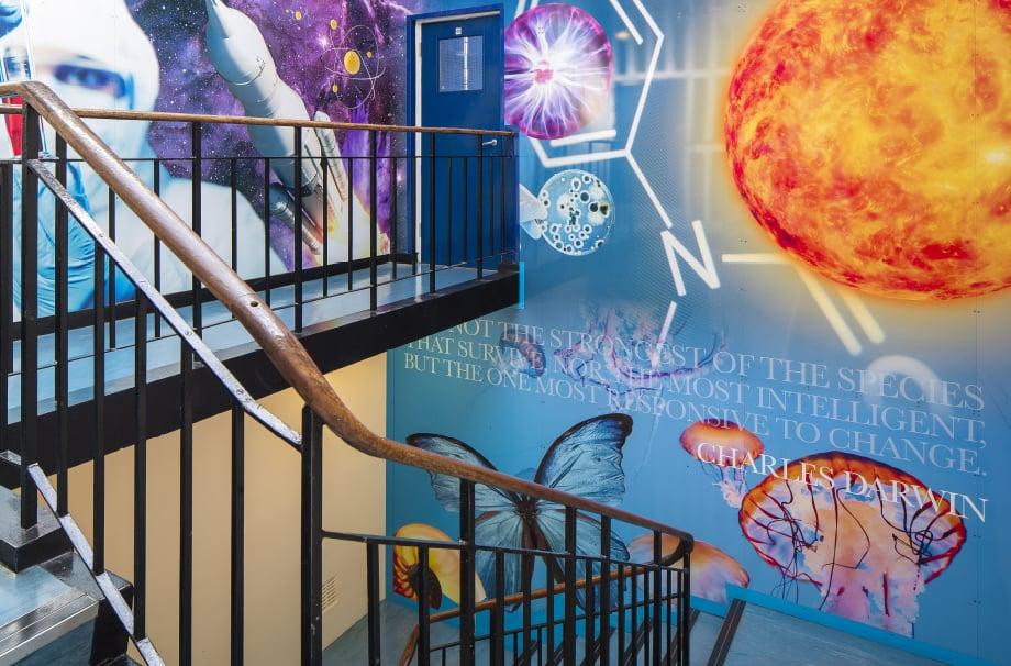 London Catholic Schools bespoke science themed staircase wall art