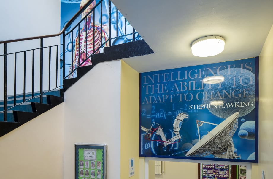 Finchley Catholic School custom design science themed staircase wall art
