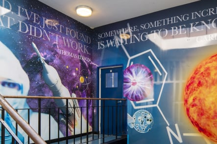 Finchley Catholic High School science staircase wall art