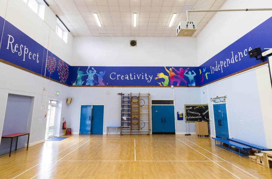 Northumberland Heath Primary School hall values feature wall art