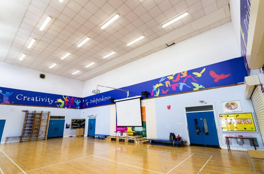 Northumberland Heath Primary School values hall feature wall art