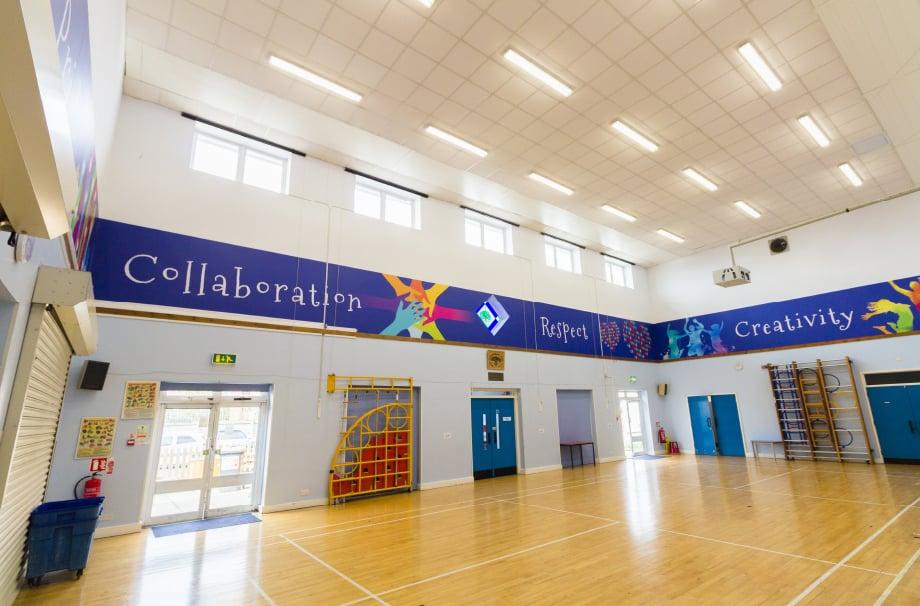 Northumberland Heath Primary School Hall values inspiring bespoke wall art