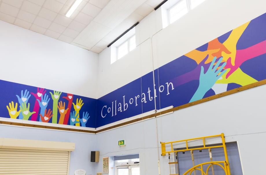 Northumberland Heath Primary school bespoke values feature wall art